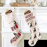 Valery Madelyn 48CM Decorazioni Natalizie Calze di Natale Set di 2 Stivali di Natale Calza di Babbo Natale Calza da riempire e Appendere da Regali di Lino per Decorazioni Natalizie di Natale Beige