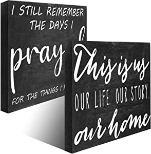 2 Pieces I Still Remember The Days I Prayed Rustic Farmhouse Wooden Sign This is Us Wall Decorations for The Home Plaque Religious Plaque Christian Women Gifts