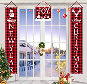 TGOOD Merry Christmas Decorations Outdoor Banner, Xmas Farmhouse Decor Happy New Year Red Buffalo Check Plaid Porch Flag Yard Sign,Rustic Xmas Banners for Indoor Outside Front Door Wall Garden Party