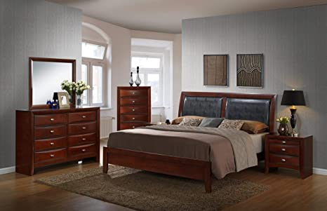 Roundhill Furniture Emily 111 Contemporary Wood Bedroom Set, Queen Bed,  Dresser, Mirror, 2 Night Stands, Chest, Mahogany, Merlot