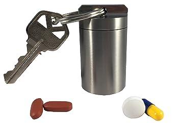 Titanium Large Single Chamber Waterproof Airtight Corrosion Resistant Keychain Pill Fob Storage