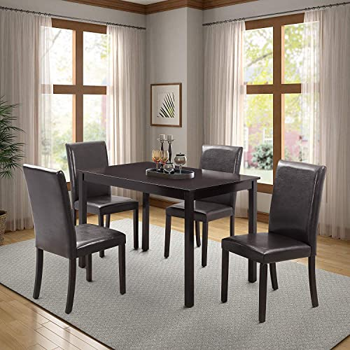 Harper Bright Designs Dining Table Set Kitchen Dining Table Set Wooden Table and 4 PU Leather Chairs for 4 Person Cherry