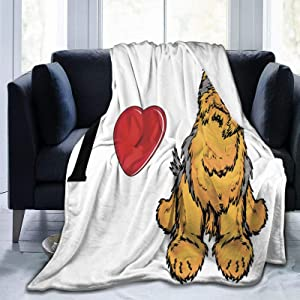 """Throw Blanket Lightweight Ultra-Soft Fleece Warm,I Love Yorkshire Terrier Cute Dog Smiling Animal Tilted Head Love,Microfiber All Season Living Room/Bedroom/Sofa Couch Bed Flannel Quilt,60"""" X 80"""""""