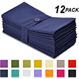 Cotton Craft Napkins, 12 Pack Oversized Dinner Napkins 20x20 Navy, 100% Cotton, Tailored with Mitered corners and a generous hem, Napkins are 38% larger than standard size napkins