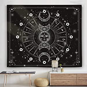 Ulogu Sun Moon Tapestry Wall Hanging Stars Psychedelic Bohemian Black and White Tapestry for Bedroom Aesthetic Wall Hanging Decor