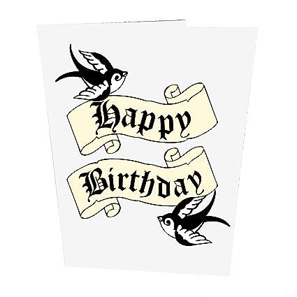 Tatuaje golondrinas Tarjeta de cumpleaños: Amazon.es: Oficina y ...