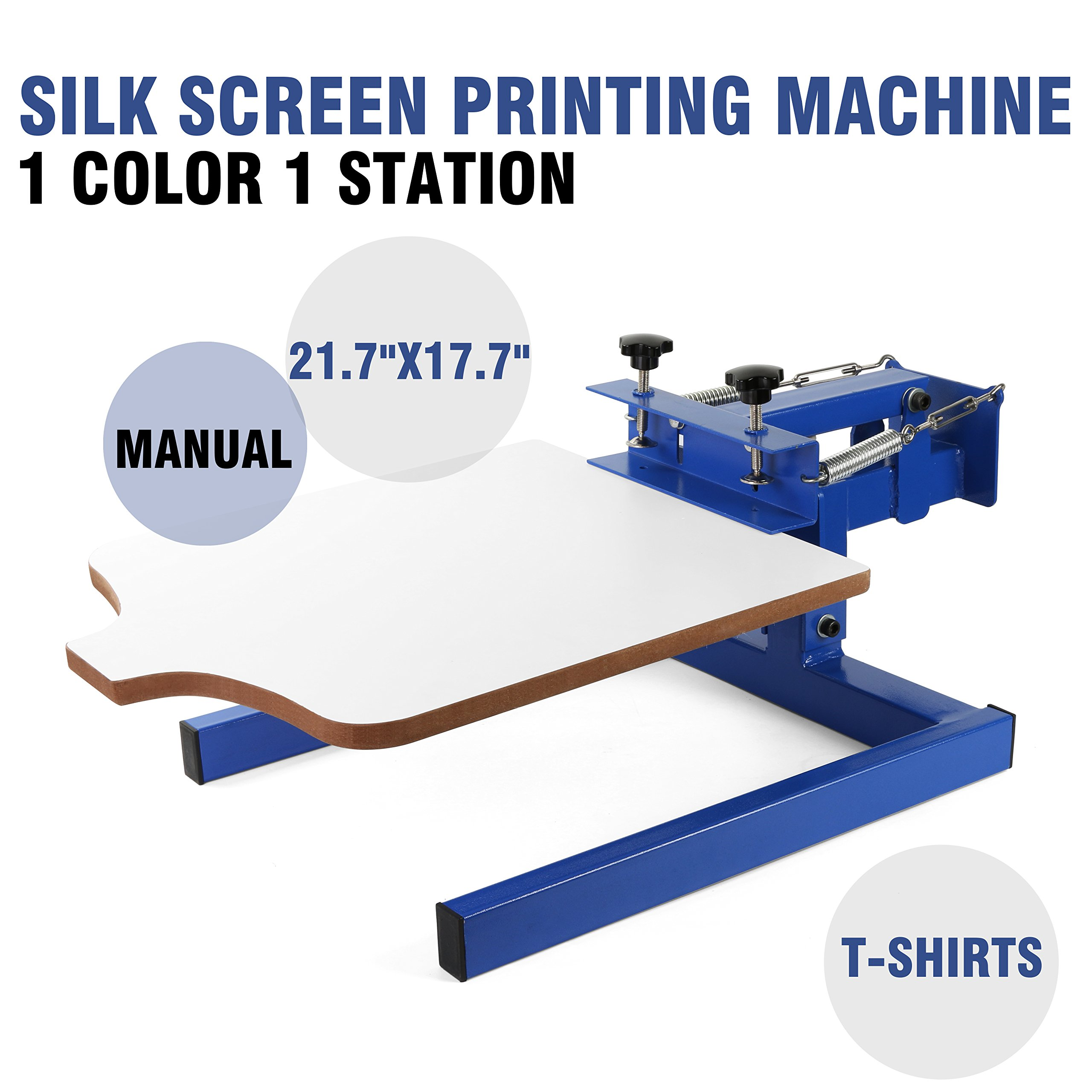 VEVOR Screen Printing Machine 1 Color 1 Station Silk Screen Printing Machine 17.7x21.7Inch Screen Printing Press for T-shirt DIY Printing Removable Pallet (1 Color 1 Station) by VEVOR
