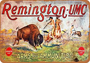 Retro Metal Tin Sign Vintage Remington Arms Ammunition Aluminum Sign for Home Coffee Wall Decor 8x12 Inch