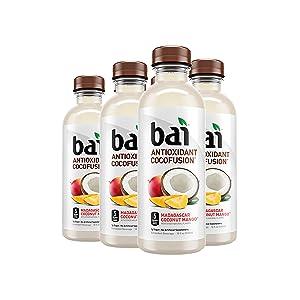 Bai Coconut Flavored Water, Madagascar Coconut Mango, Antioxidant Infused Drinks, 18 Fluid Ounce Bottles, 6 Count
