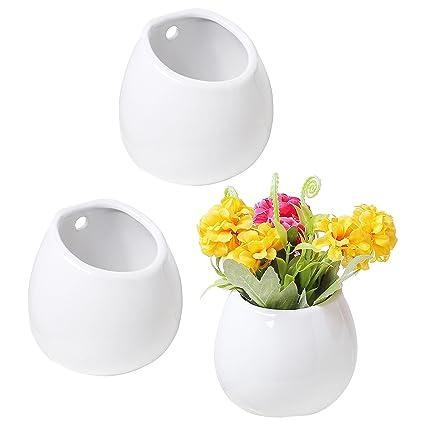 Amazon Set Of 3 Mini White Ceramic Wall Mountable Plant Vase 4