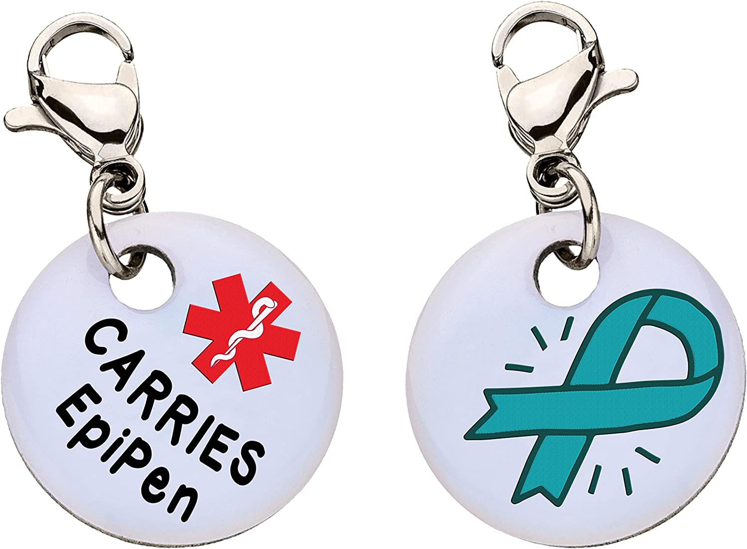 Carries EpiPen Snap-On Bracelet Charm-Parent (Stainless Steel),100