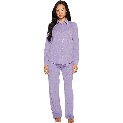 Lauren by Ralph Lauren Womens Petite Pique Long Sleeve PJ Set