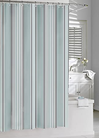 Kassatex Capri Stripe Shower Curtain, Spa Blue/Grey, 72 By 72 Inch