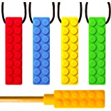 SENSO MEGA BUNDLE Sensory Chew Necklace Set (4 Pack + BONUS Pencil Topper) - Silicone Chewy for ADHD, Teething, Autism, Biting, Oral Motor Chew Toy for Boys and Girls - UPGRADED TOUGHER CHEW