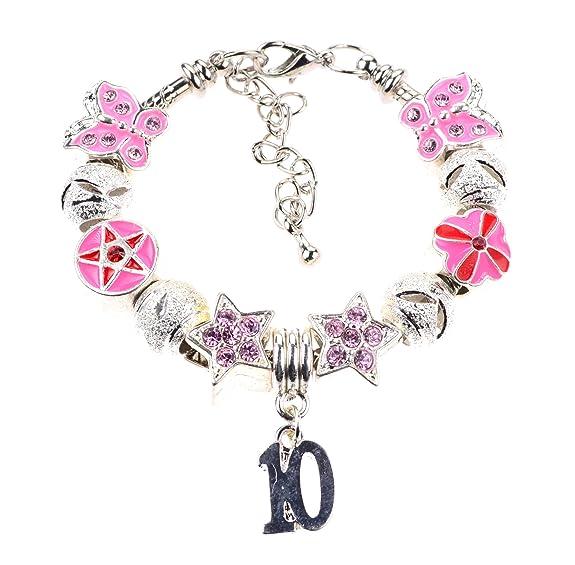 décimo Cumpleaños Infantil Estilo Pandora Pulsera con perlas ...