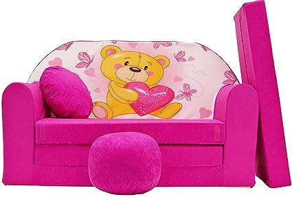 Pro cosmo h3 divano letto con pouf poggiapiedi cuscino in tessuto