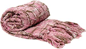 Home Soft Things Multi-Color Chenille Couch Throw Blanket Light Pink (50x60)