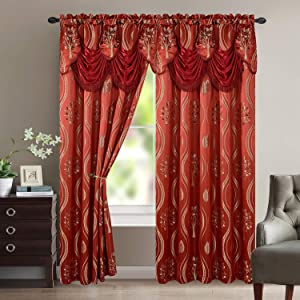 Luxury Home Textile Aurora Tree Leaf Jacquard Window Panel with Attached Valance, Premium Quality, Beautiful Tree Leaf Design, Vibrant Colors, 100% Polyester, 54x84 Inches Per Panel, 2-Pack (Burgundy)