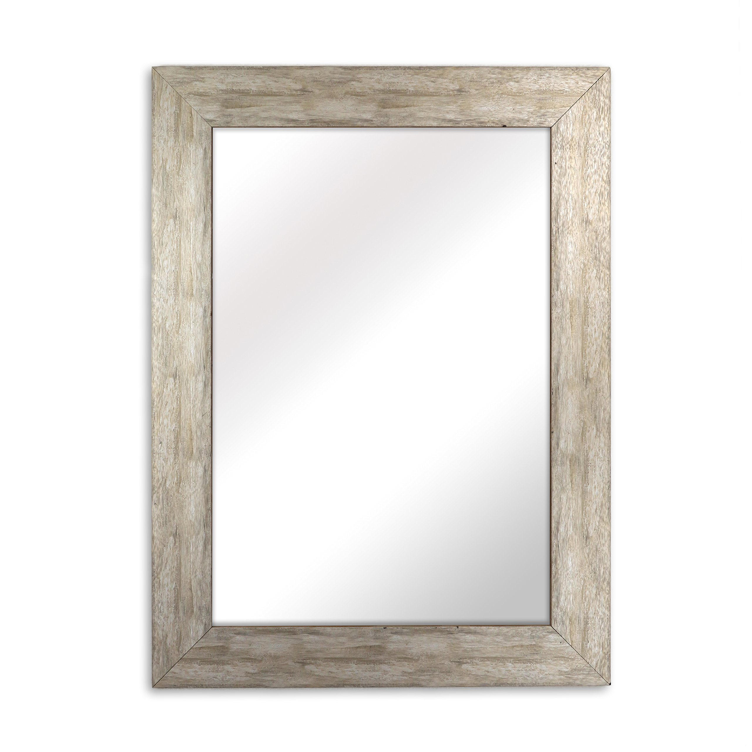 Raphael Rozen - Elegant - Modern - Classic - Vintage - Rustic - Hanging Framed Wall Mounted Mirror, Distressed Wood Finish, Gray - White Color