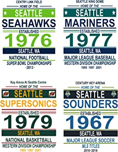 Seattle Vintage Sports Posters - Set of Four 11x14 Prints - NBA, MLB, NFL, MLS Memorabilia Fan Art