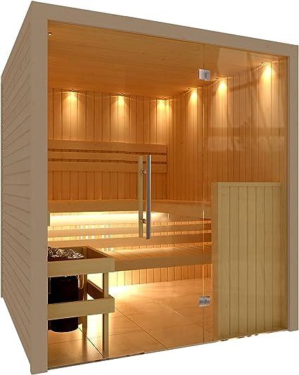 C de Quel Royal Sauna Cristal Frontal 1946 mm x 1598 mm x 2040 mm incluye set de accesorios 9 kW Sauna Horno: Amazon.es: Jardín