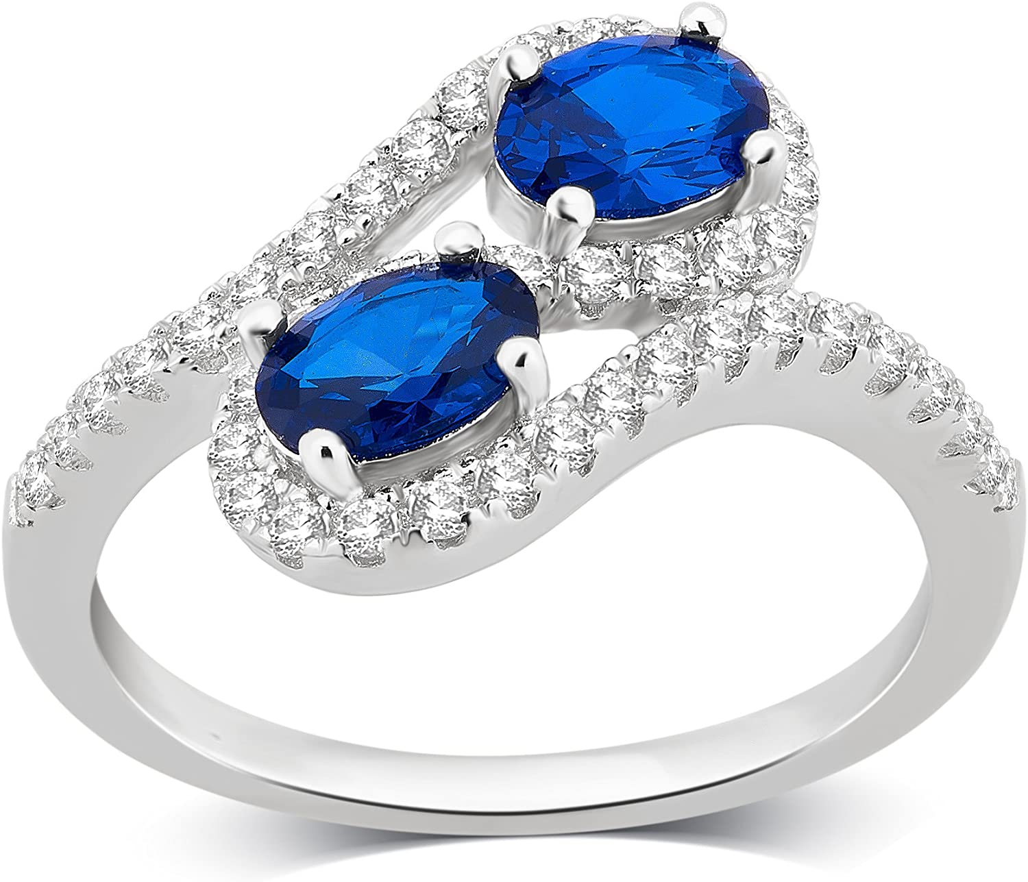2 Stone Blue and White Sapphire Ring in Sterling Silver