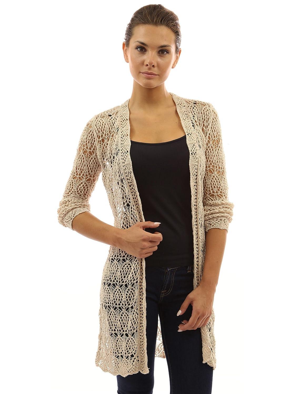 PattyBoutik Women\'s Open Stitch Crochet Lace Cardigan at Amazon ...