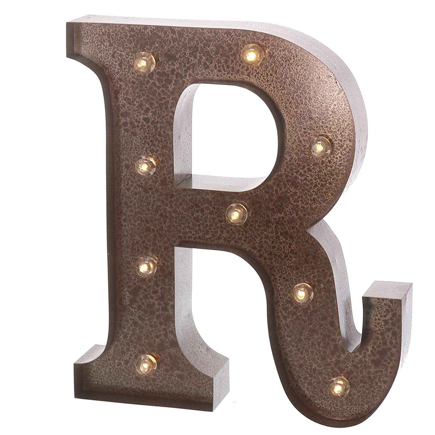 """Barnyard Designs Metal Marquee Letter R Light Up Wall Initial Wedding, Home and Bar Decoration 12"""" (Rust)"""
