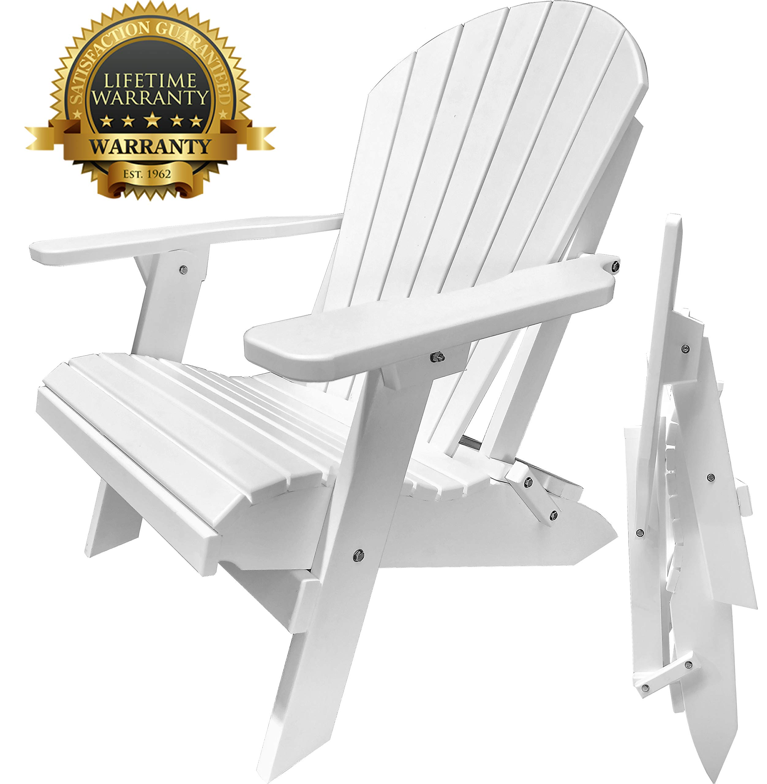 DuraWeather Classic Folding Adirondack Chair - Superior Composite Poly Resin - Made In USA - King Size - Made In The U.S.A. (Bright White)