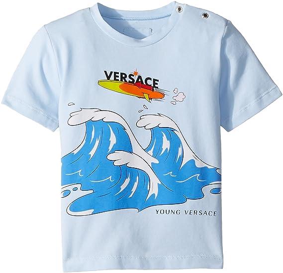 ceb14e9d3621 Amazon.com  Versace Kids Baby Boy s Short Sleeve Wave Graphic T-Shirt  (Infant) Light Blue 12 Months  Clothing