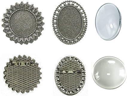 PIN bronze brooch base Fimo glass image furnishing DIY Mercerie flat bottom round cabochon collage flowers Gothic Boheme 25 mm