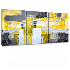 Artkisser Modern Abstract Wall Art Yellow Wall decor Prints on Canvas paintings Artwork Wall Decoration Home Decor for Living room Stretched and Framed Ready to Hang 12''x16'' 3pcs