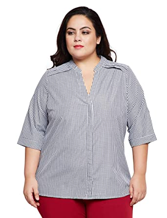 88579dbf8c1ee0 oxolloxo Plus Size Women V Neck Off White Striped Top Long Sleeves  Amazon. in  Clothing   Accessories