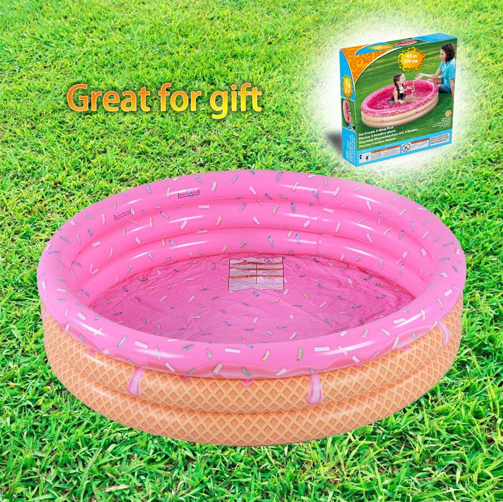Kiddie Pool, Ice Cream 3 Ring Inflatable Pool for Kids, Ideal Water Pool in Summer, 45 Inches Inflatable Swimming Pool, for Ages 3+ by XFlated (Image #2)