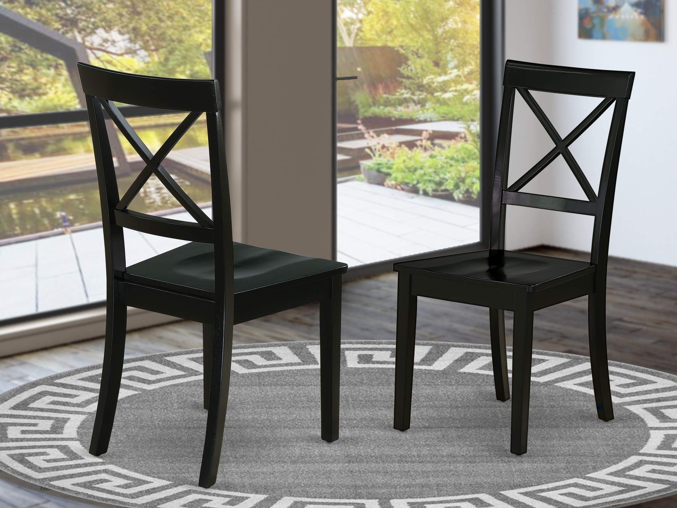 East West Furniture BOC-BLK-W Boston Formal Dining Chair Wood Seat in Black Finish (Set of 2), by East West Furniture