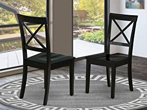 East West Furniture BOC-BLK-W Boston Formal Dining Chair Wood Seat in Black Finish (Set of 2),