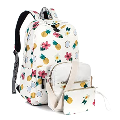 c499da33e990 Leaper Cute Pineapple Pattern School Backpack Shoulder Bag Pencil Cases 3PCS