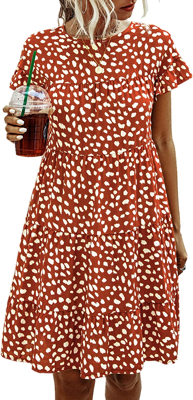 Angashion Women/'s Summer Tunic Dress Round Neck Short Sleeve Ruffle Casual Loose Flowy Babydoll Swing Mini Shift Dresses