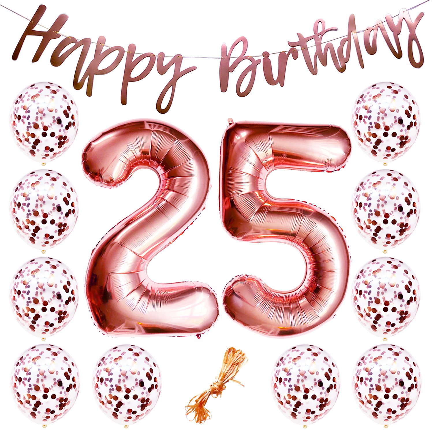 """25th Birthday Party Decorations Rose Gold Decor Strung Banner (HAPPY BIRTHDAY) & 12PC Helium Balloons w/Ribbon [Huge Numbers """"25"""", Confetti] Kit Set Supplies 