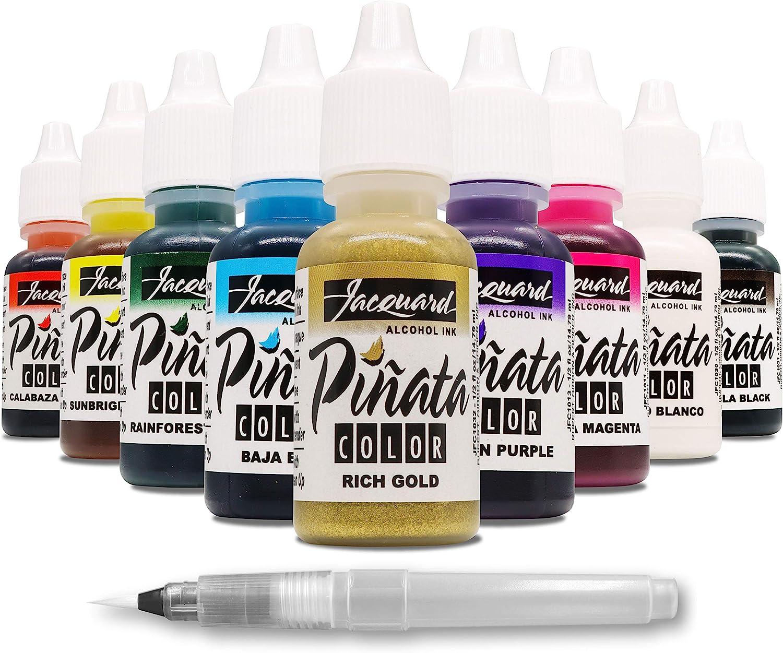 Jacquard Piñata Alcohol Ink - Original Exciter Pack - 9 Colors - 1/2 Ounce Bottles - Bundled with Moshify Blending Pen