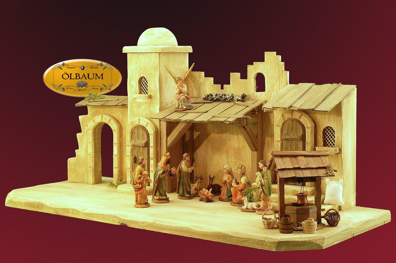 Oelbaum-Krippe KOW70we-MF-BRK- Große XXL 70 cm Weihnachtskrippe, mit LED + Brunnen + Dekor, Massivholz edelweiß ORIENT - mit PREMIUM-Krippenfiguren mit exakter, detailgetreuer Mimik HANDBEMALT - auf Wunsch* Krippe mit Beleuchtung, Trafo und Krippen - Lämpchen / Laterne