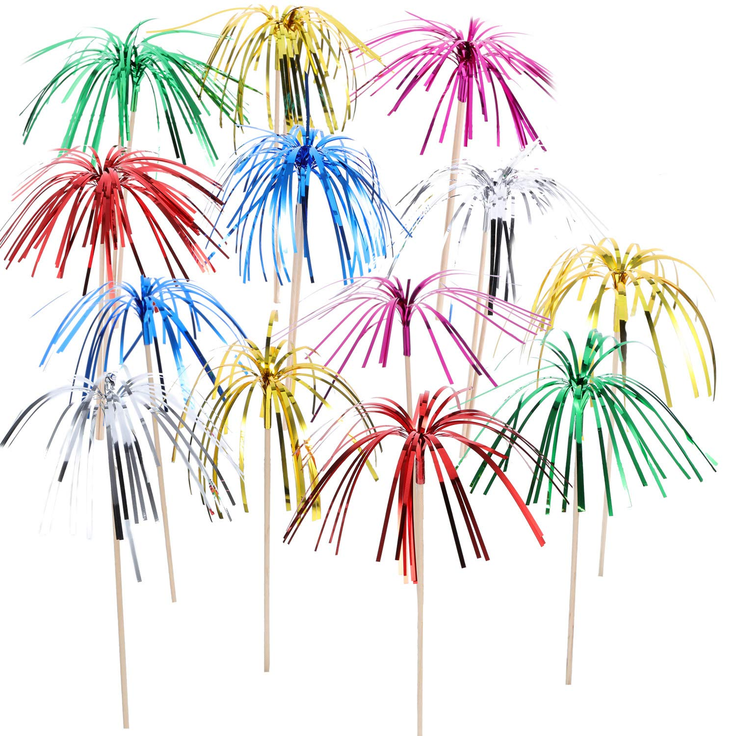 TecUnite 100 Pieces Foil Frill Firework Cupcake Picks Christmas Cupcake Topper 9 Inch Coconut Tree Shape, Food Picks Supplies Party Decoration (Multicolored)