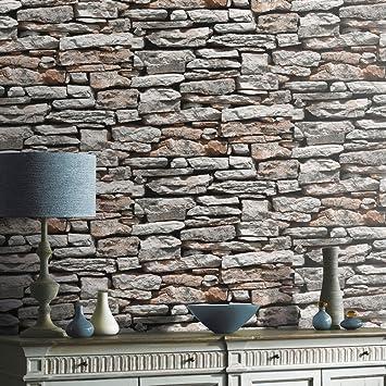 Steintapete grau schlafzimmer  Steintapete in Grau Braun , schöne edle Tapete im Steinmauer ...