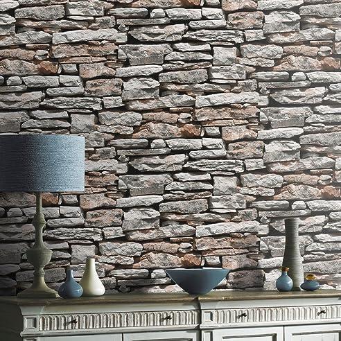 Steintapete In Grau Braun , Schöne Edle Tapete Im Steinmauer Design ,  Moderne 3D Optik Für