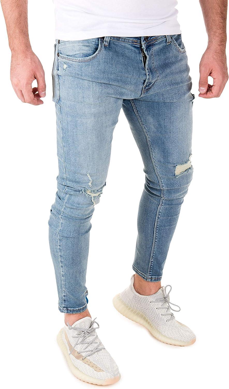PITTMAN Jeans Uomo Strappato Pantaloni Jean Slim Ragner