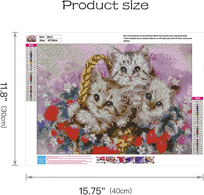 3 Kittens Christmas 5d DIY Diamond Painting by Number Kits for Adults Diamond Mosaic Embroidery Crystal Painting 11.815.7 Inch