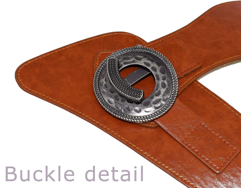 TeeYee Damen M/ädchen PU Leder Vintage Oval Schnalle G/ürtel Einfarbig Breite Elastische G/ürtel Tailleband