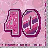 16 Serviettes roses 40 ans