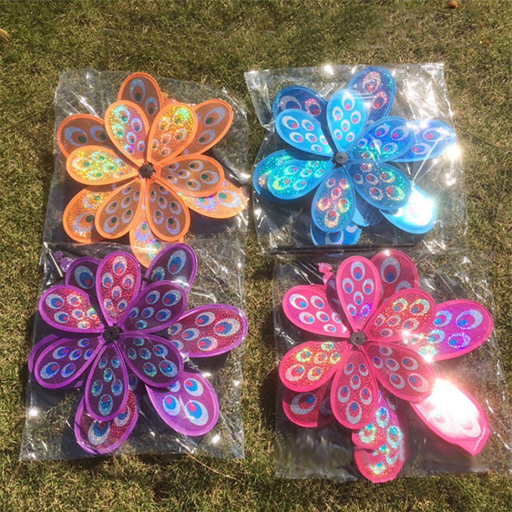BINGHONG3 Double Layer Peacock Sequins Windmill Colorful Wind Spinner Kids Toy New