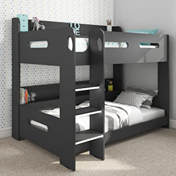 Sky Single Wooden Bunk Bed In Dark Grey Ladder Can Be Fitted